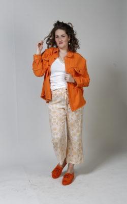 Isla Ibiza Bonita Trousers Printed Floral Peach-Orange-Yellow Broek Oranje