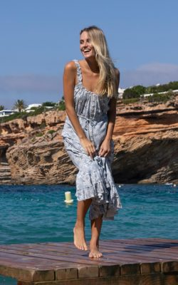 Isla Ibiza Bonita Maxi Dress Floral Printed Blue