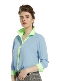 Only-M Blouse Tessuto Gala Licht Blauw Lime