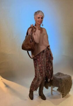 Isla Ibiza Bonita Bohemian Skirt Folklore Mix Print – Brown