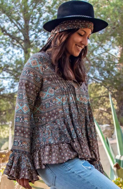 Isla Ibiza Bonita Boho Blouse Mixed Floral Printed – Brown
