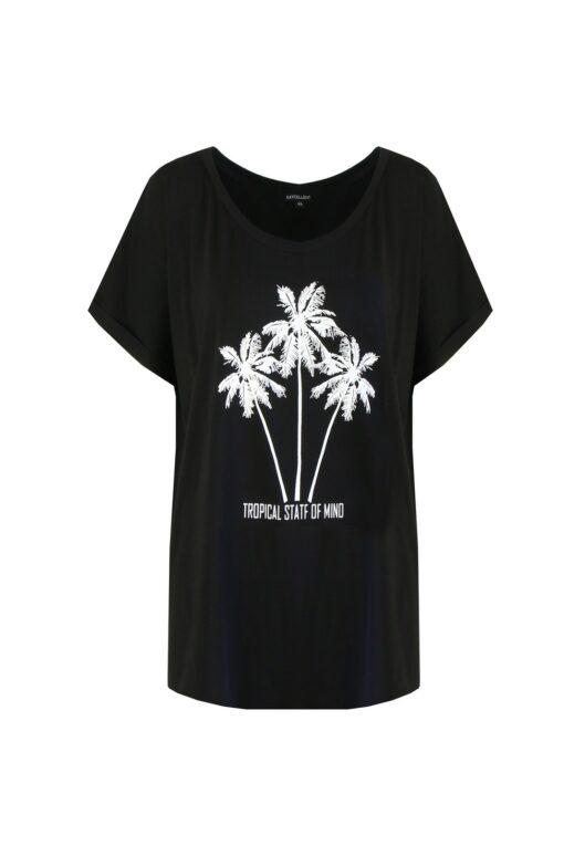 Exxcellent T-Shirt Palm Threes Zwart