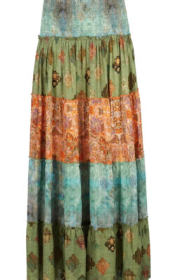Isla Ibiza Bonita Multicolor Long Skirt Mixed Printed – Green