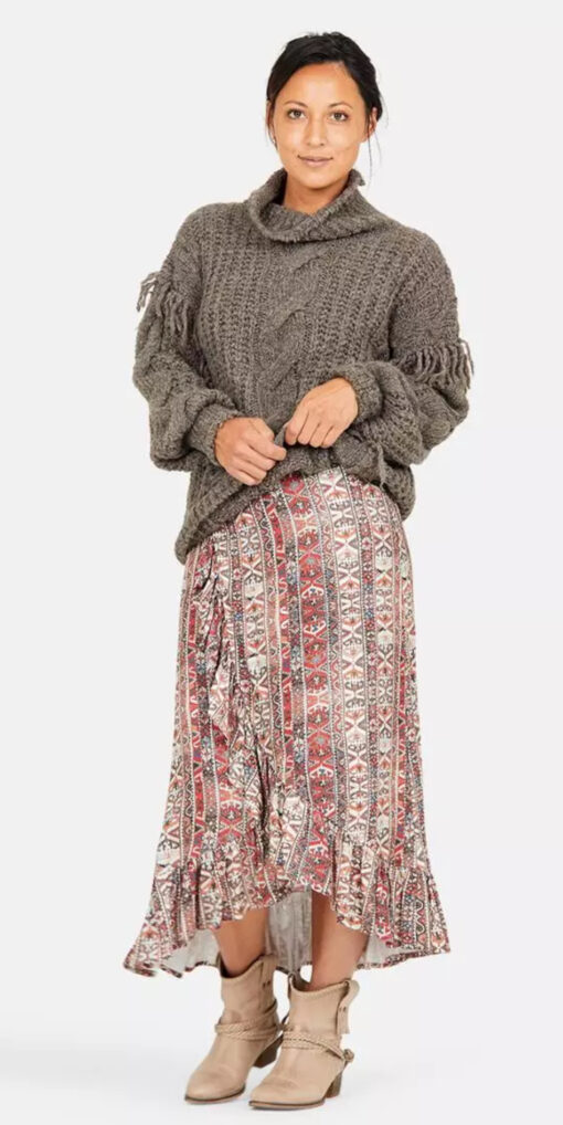Isla Ibiza Bonita Bohemian Skirt Folklore Mix Print – Brown