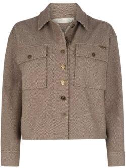 Isla Ibiza Bonita Short Herringbone Tweed Jacket – Brown