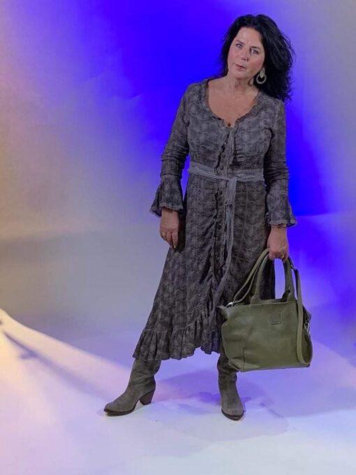 Isla Ibiza Bonita Garment Dyed Embroidered Maxi Dress Taupe – Brown