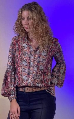 Isla Ibiza Bonita Bohemian Blouse Folklore Mix Print – Brown