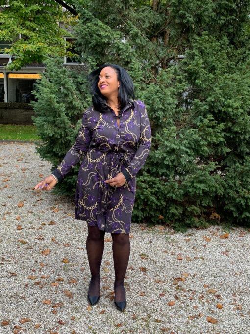 Exxcellent Jurk Kylie Zwart mix