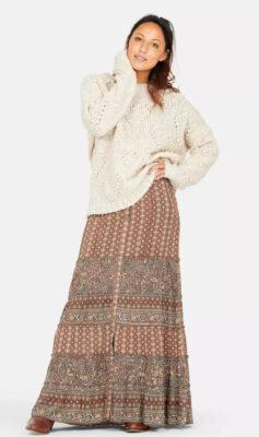 Isla Ibiza Bonita Boho Maxi Skirt Mixed Floral Printed – Brown